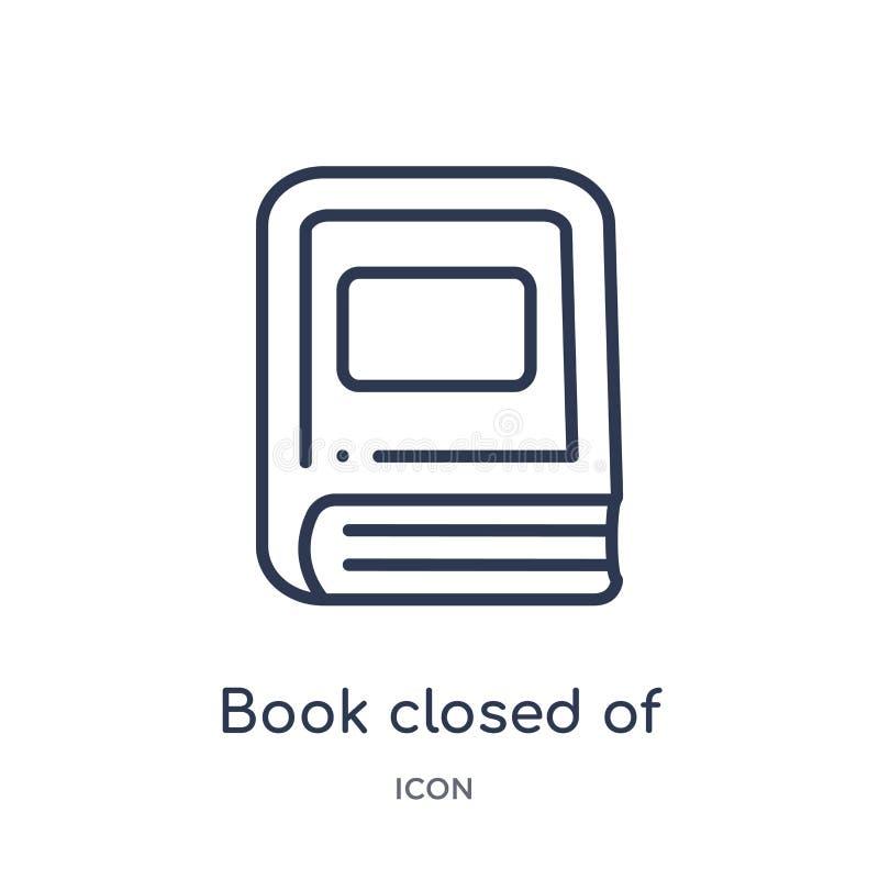 Livro linear fechado do ícone branco da tampa da coleção do esboço da educação A linha fina livro fechou-se do ícone branco da ta ilustração do vetor