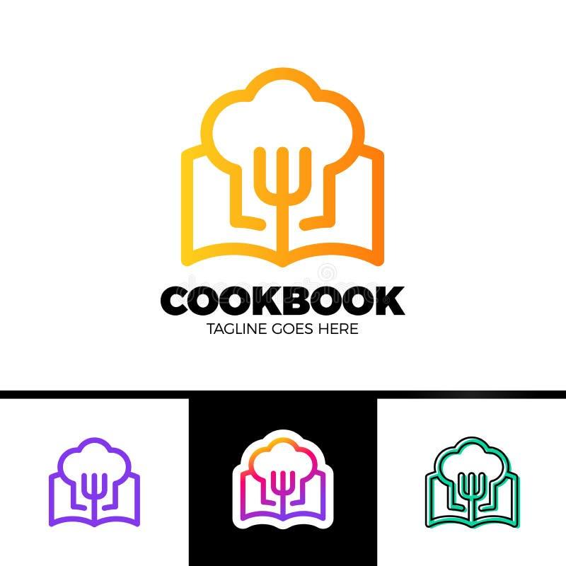 Livro Logo Template Design da receita no projeto do vetor do estilo do esboço ilustração royalty free