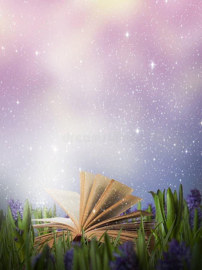 Livro mágico aberto em um prado ilustração do vetor