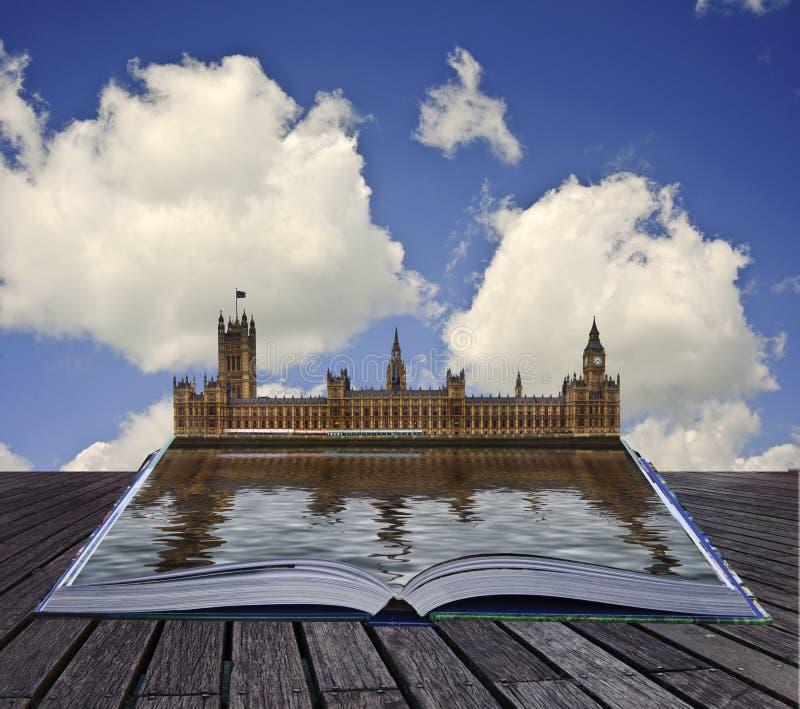 Livro mágico com as casas do parlamento imagens de stock royalty free