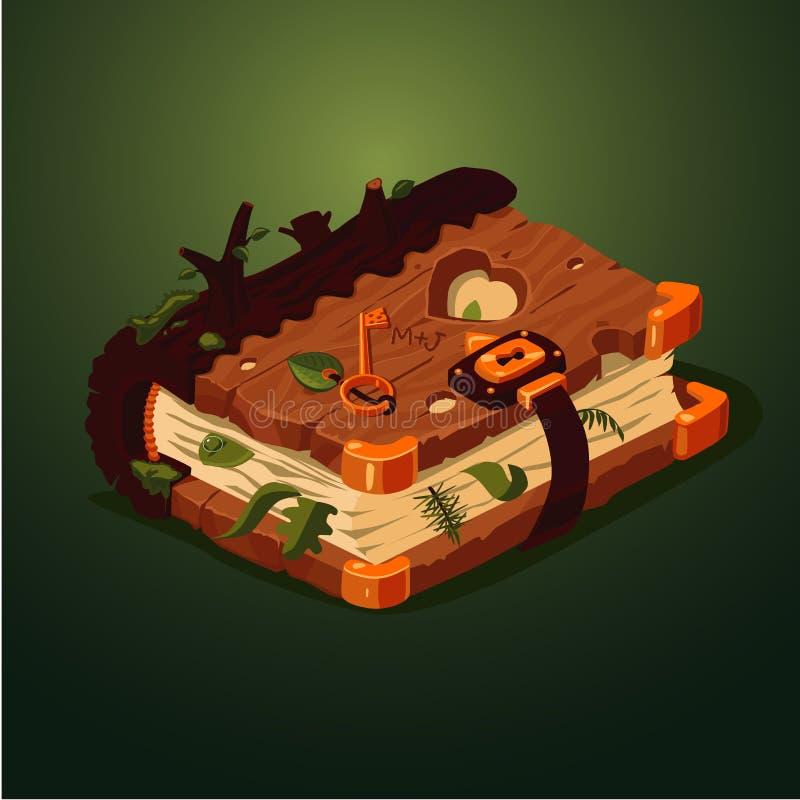 Livro mágico da floresta Estilo dos desenhos animados Conceito de projeto do jogo Diário velho com tampa de madeira ilustração royalty free