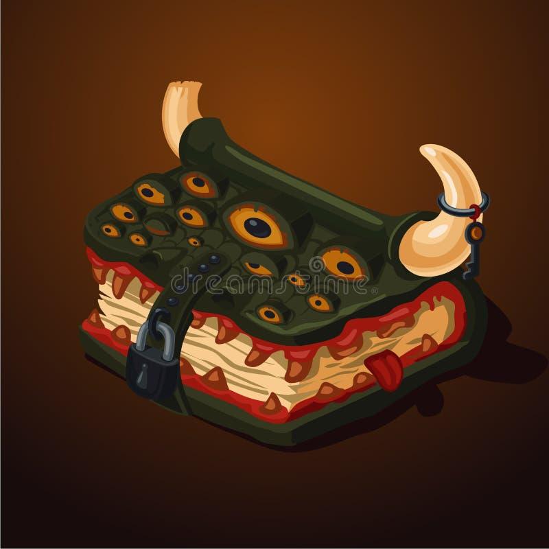 Livro mágico do monstro Estilo dos desenhos animados Conceito de projeto do jogo Tomo velho com tampa de couro ilustração royalty free