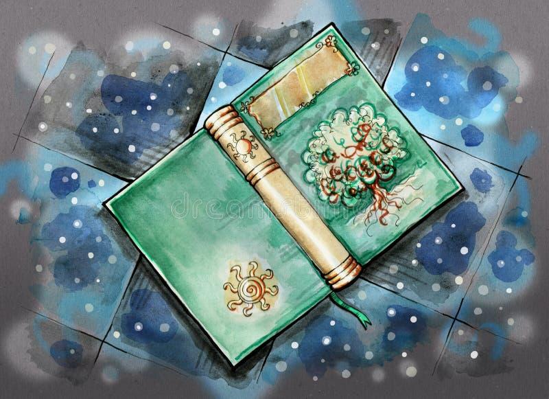 Livro mágico no assoalho ilustração royalty free