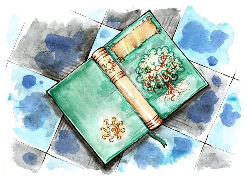 Livro mágico no assoalho ilustração stock