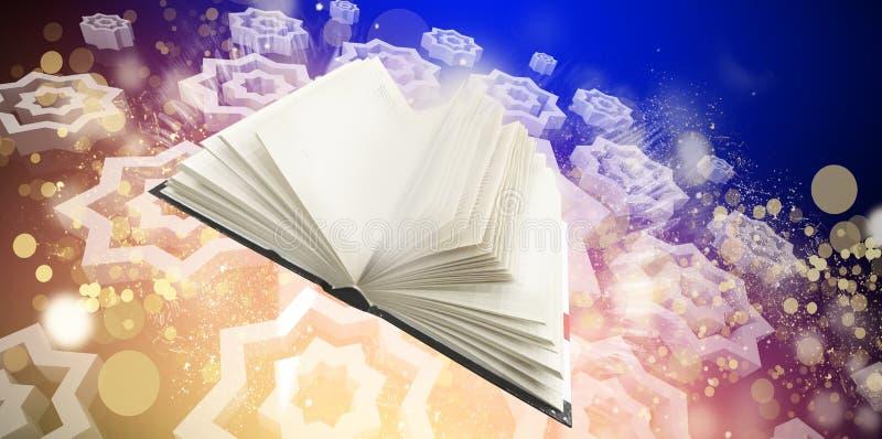 Livro mágico no fundo oriental na janela ilustração do vetor