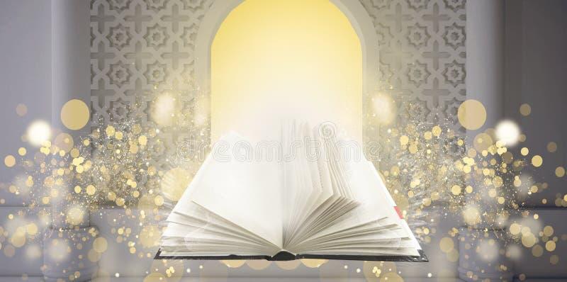 Livro mágico no fundo oriental na janela ilustração stock