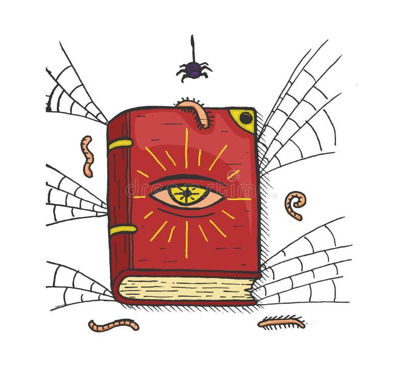 Livro mágico velho da bruxa ilustração do vetor