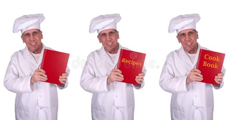 Livro masculino de sorriso feliz do cozinheiro das receitas do cozinheiro chefe isolado fotos de stock
