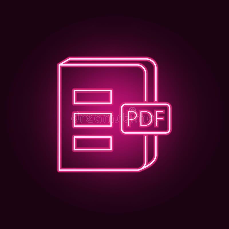 livro no ícone do formato do pdf Elementos dos livros e dos compartimentos nos ícones de néon do estilo Ícone simples para Web si ilustração royalty free