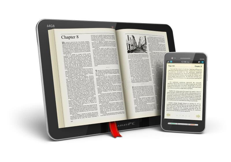 Livro no computador e no smartphone da tabuleta ilustração do vetor