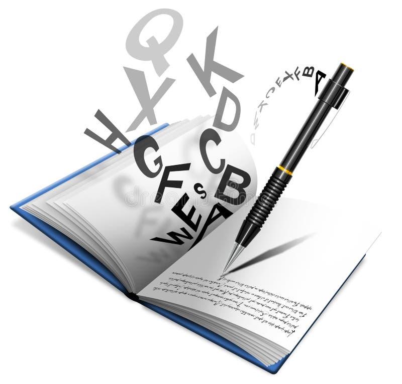 Livro ou caderno e lápis ilustração do vetor