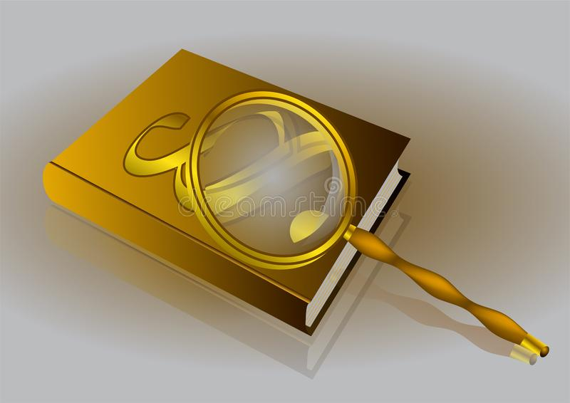 Livro, parágrafo e lente de aumento ilustração do vetor