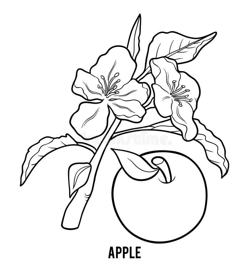 Livro para colorir, árvore de Apple ilustração stock
