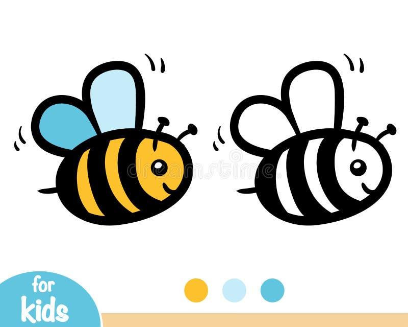 Livro para colorir, abelha ilustração royalty free