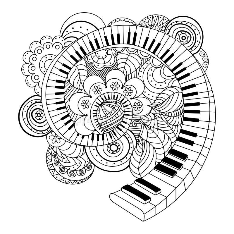 Livro Para Colorir Abstrato Do Instrumento Musical Ilustracao Do
