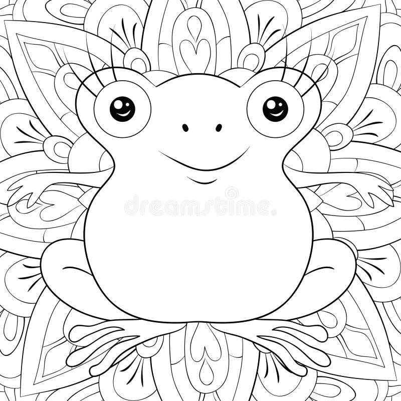 Livro para colorir adulto, página uma imagem bonito da rã para a atividade de relaxamento Ilustração do estilo da arte do zen par ilustração royalty free