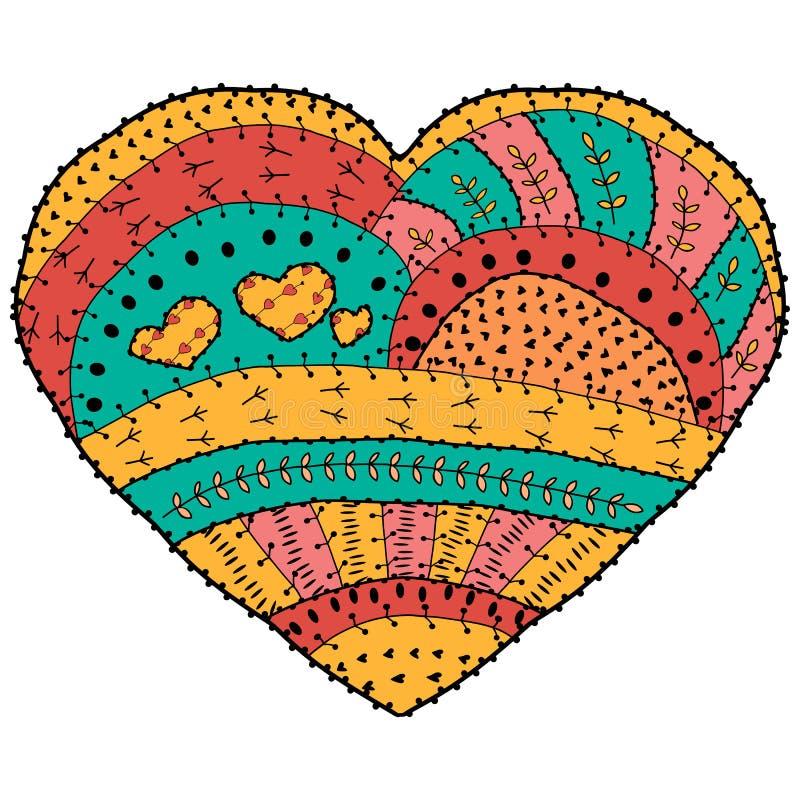 Livro para colorir adulto Vector o projeto étnico dado forma coração do teste padrão no estilo lunático ilustração do vetor