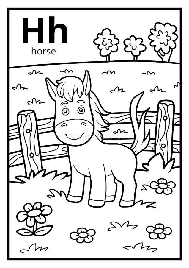 Livro para colorir, alfabeto incolor Letra H, cavalo ilustração royalty free