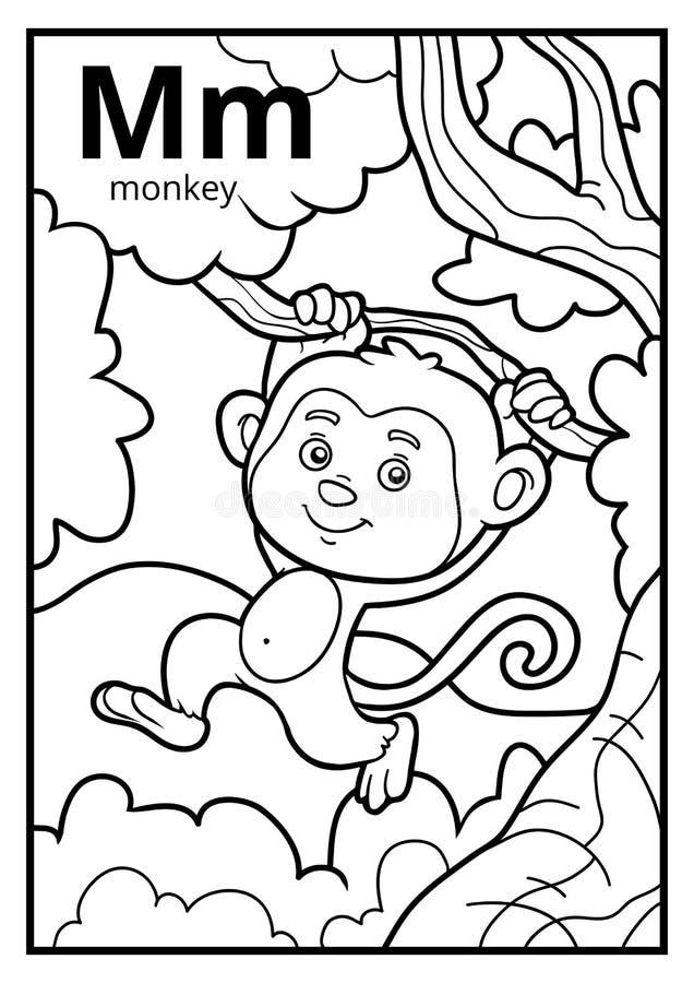 Livro para colorir, alfabeto incolor Letra M, macaco ilustração do vetor