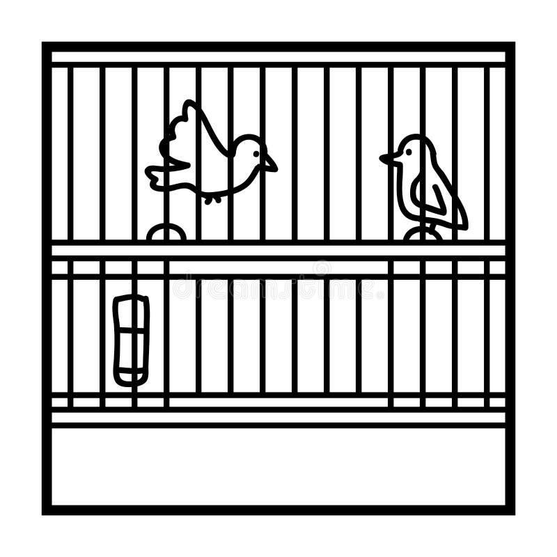 Livro para colorir, Birdcage ilustração royalty free