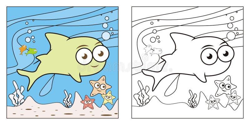Livro para colorir bonito da natureza para crianças ilustração do vetor