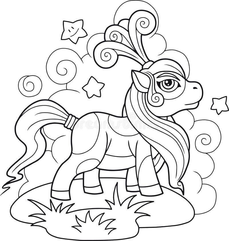 Livro para colorir bonito pequeno do pônei ilustração royalty free