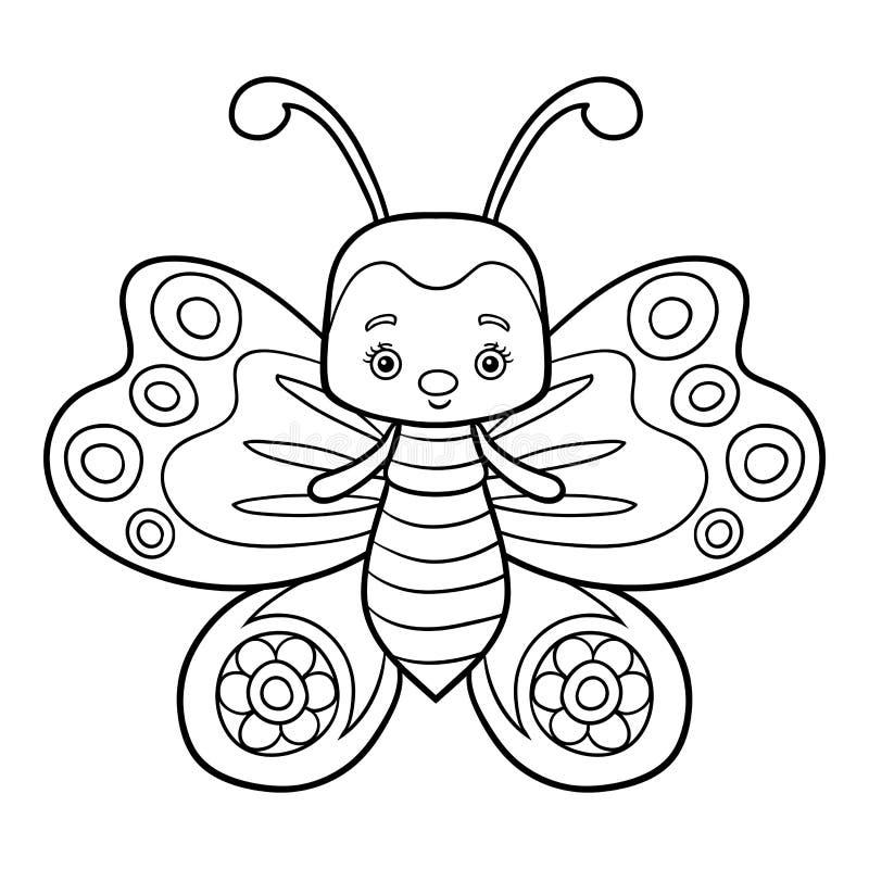 Livro para colorir, borboleta ilustração stock