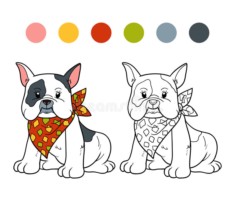 Livro para colorir (buldogue francês) ilustração royalty free