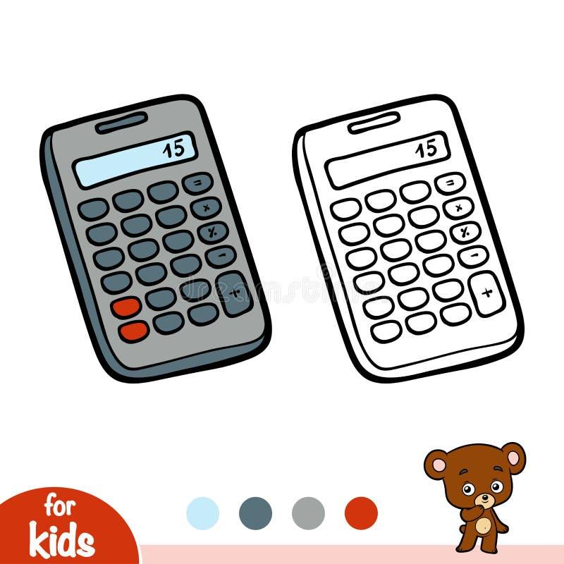 Livro para colorir, calculadora ilustração royalty free