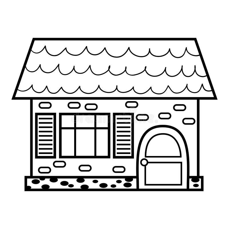 Livro para colorir, casa ilustração royalty free