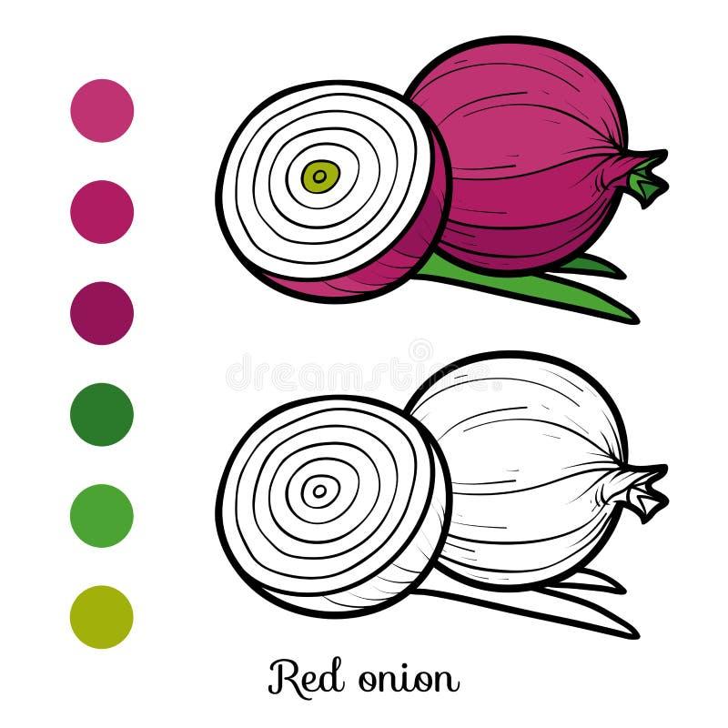 Livro para colorir, cebola vermelha ilustração stock