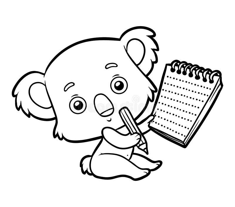Livro para colorir, coala ilustração royalty free