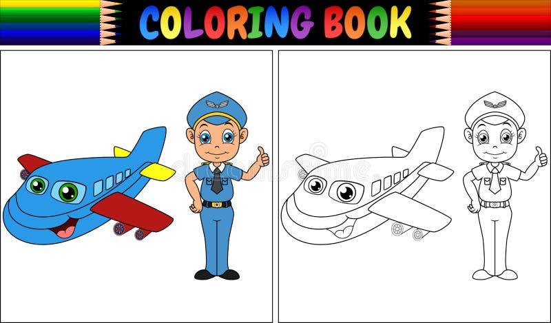 Livro para colorir com criança e o avião piloto ilustração stock