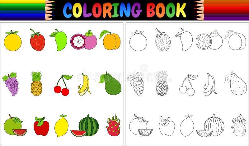 Livro para colorir com desenhos animados dos frutos frescos ilustração royalty free