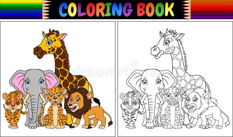 Livro para colorir com os animais africanos bonitos ilustração stock
