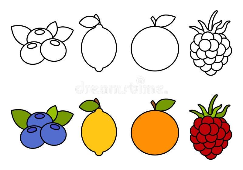 Livro para colorir com os frutos, colorindo para crianças ilustração royalty free