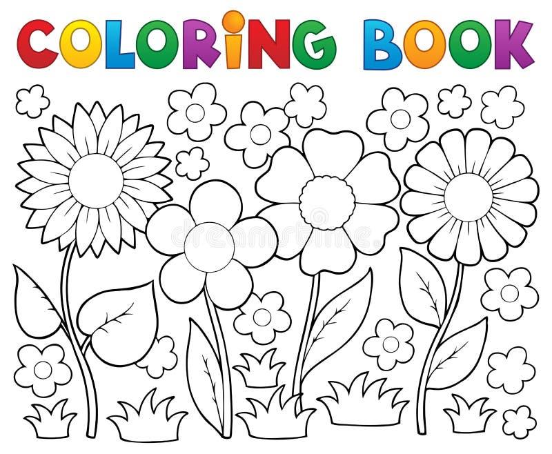 Livro para colorir com tema da flor ilustração stock