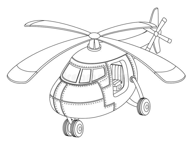 Livro para colorir para crianças com um helicóptero ilustração do vetor