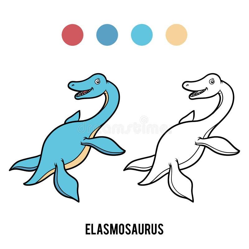 Livro para colorir para crianças, Elasmosaurus dos desenhos animados ilustração do vetor