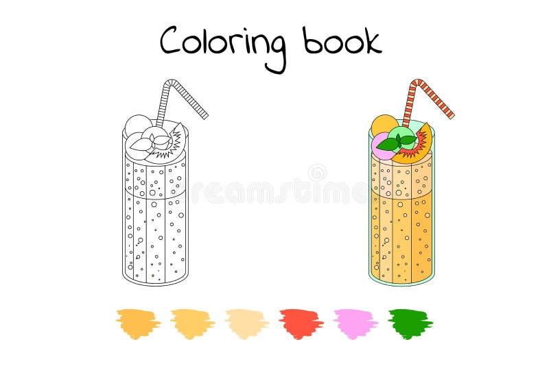 Livro para colorir para crianças Vetor cocktail, pêssego ilustração stock