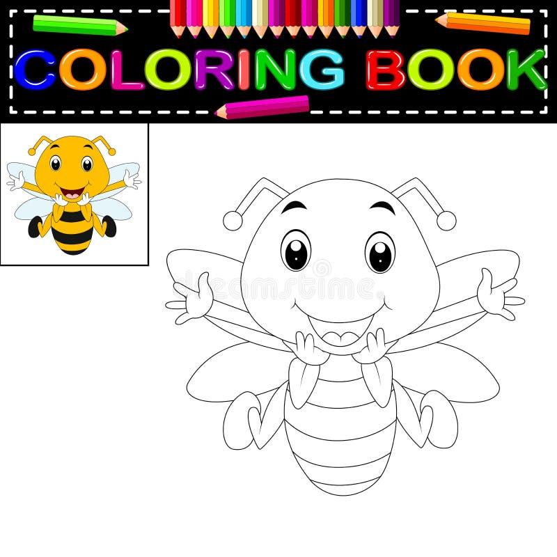 Livro para colorir da abelha ilustração royalty free