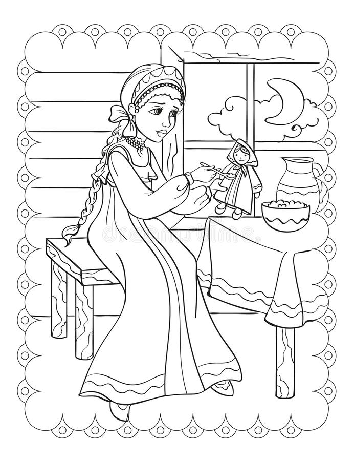 Livro Para Colorir Boneca Ilustracao Do Vetor Ilustracao De