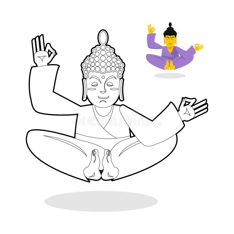 Livro para colorir da Buda Buddha que meditating Deus indiano buddha no wh ilustração royalty free