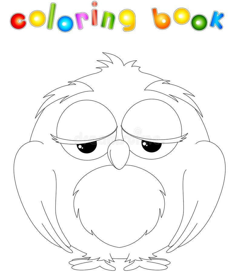 Livro para colorir da coruja dos desenhos animados ilustração stock