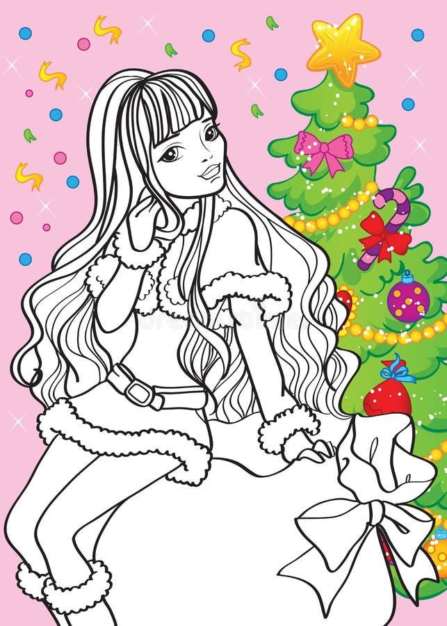 Livro para colorir da menina bonita que senta-se no saco ilustração royalty free