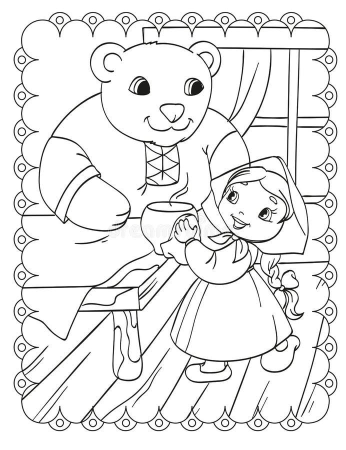 Livro para colorir da menina com casa do urso ilustração royalty free