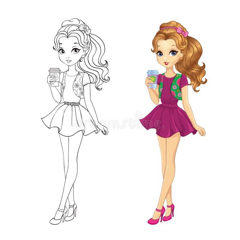 Livro para colorir da menina do café ilustração royalty free