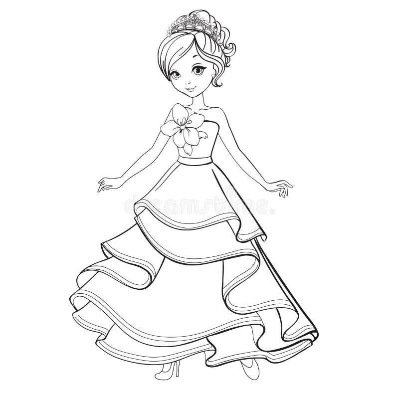 Livro para colorir da princesa da beleza