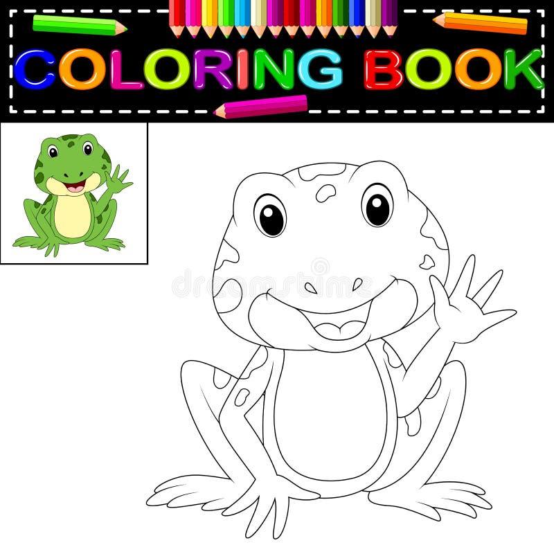 Livro para colorir da rã ilustração do vetor