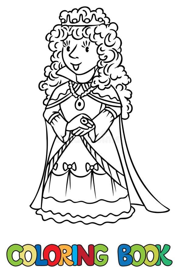 Livro para colorir da rainha ou da princesa feericamente da beleza ilustração stock